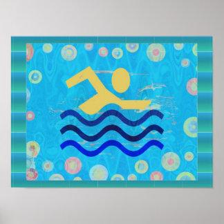 Schwimmen:  Heiße Zeit-cooler Verstand Poster