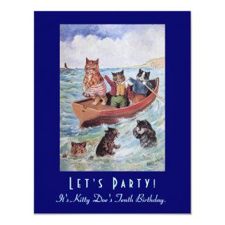 Schwimmen-Katzen-Geburtstags-Party Louis Wains 10,8 X 14 Cm Einladungskarte