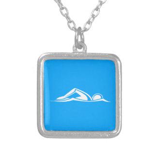 Schwimmen-Logo-Halsketten-Blau Halskette Mit Quadratischem Anhänger