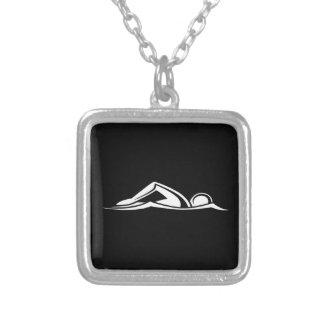 Schwimmen-Logo-Halsketten-Schwarzes Halskette Mit Quadratischem Anhänger