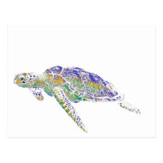 Schwimmen-Meeresschildkröte-moderne Kunst Postkarte