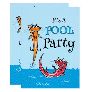 Schwimmen-Party-Otter-Gewohnheits-Einladungen Karte