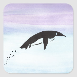 Schwimmen-Pinguin Quadratischer Aufkleber