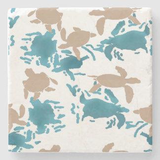 Schwimmen-Schildkröte-Muster-Weiß Steinuntersetzer