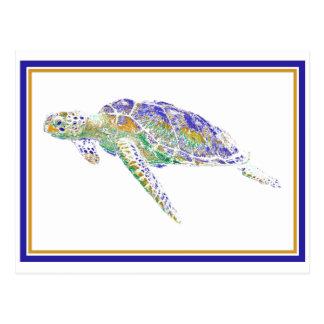 Schwimmen-Schildkröte-Postkarte Postkarte