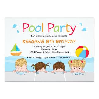 Schwimmen Sie Kinderpool-Geburtstags-Einladungen │ Karte