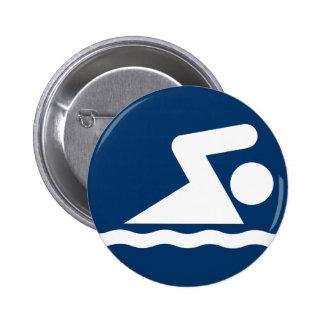 Schwimmen-Symbol-Knopf Runder Button 5,1 Cm