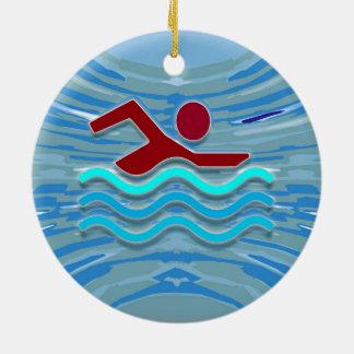 Schwimmen-Verein-Schwimmer 2 Seite Rundes Keramik Ornament