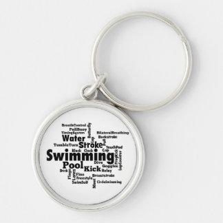 Schwimmen-Wort-Wolke Schlüsselanhänger