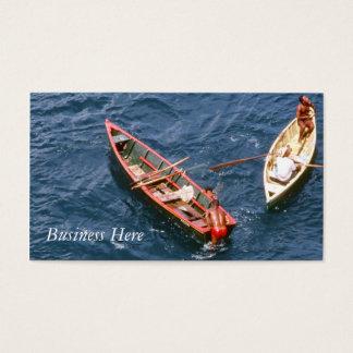 Schwimmende Boots-blauer Ozean-Retro Visitenkarte
