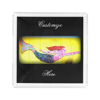 schwimmende rosa Mosaikmeerjungfrau Acryl Tablett