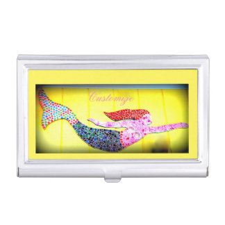 schwimmende rosa Mosaikmeerjungfrau Visitenkarten Etui
