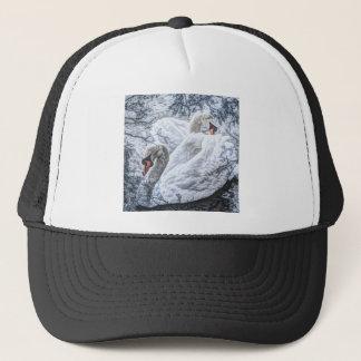schwimmender weißer Schwan des romantischen Sees Truckerkappe