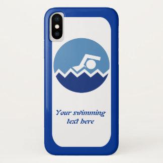 Schwimmengeschenke, Schwimmer auf einer blauen iPhone X Hülle
