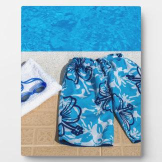 Schwimmenstammschutzbrillen und -tuch am Pool Fotoplatte