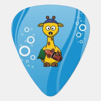Schwimmer-Giraffen-niedlicher Cartoon Plektrum