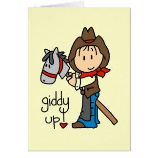 Schwindlige hohe Cowboy-T-Shirts und Geschenke Karte