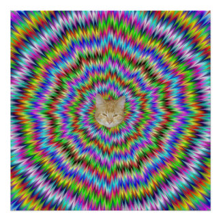 Schwindliges Plakat mit Hypno Katze