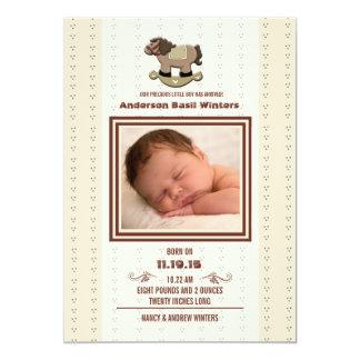 Schwingpferd - Foto-Geburts-Mitteilung 12,7 X 17,8 Cm Einladungskarte