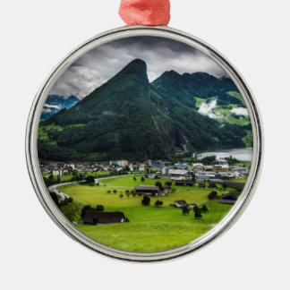 Schwyz Tal und Lauerzersee Rundes Silberfarbenes Ornament