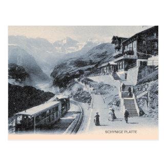 Schynige Platte Eisenbahn, Zug und Hotel Postkarte