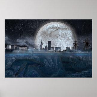 Science Fiction-Landschaftsunterwasserstadt Poster
