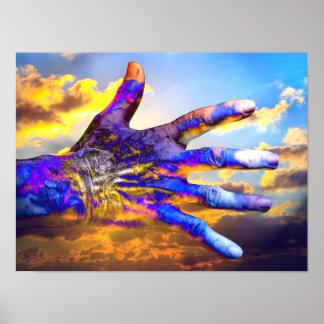 Sciencefiction-Hand im Himmel Posterdrucke