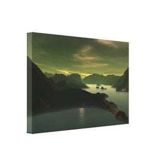 Sciencefiction-Landschaft Gespannter Galeriedruck