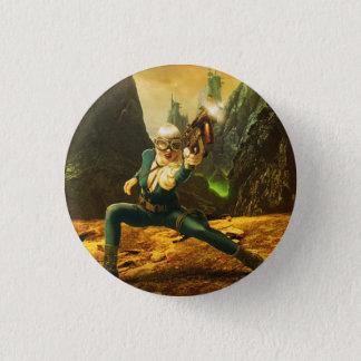 Sciencefiction-weiblicher Soldat, der bekämpft Runder Button 3,2 Cm