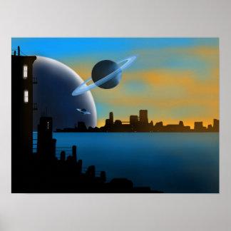 SciFi-Stadt-Kunst-Plakat Poster