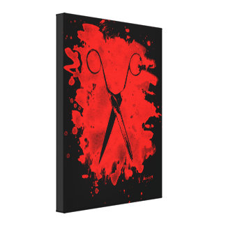 Scissors – bleached red leinwanddruck