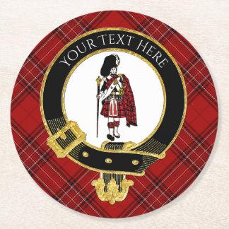Scotsman-Clan-Wappen-kariertes Muster Runder Pappuntersetzer