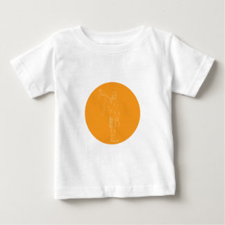 Scotsman-Soldat-Dudelsackspieler-Kreis-Zeichnen Baby T-shirt