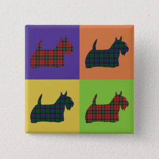 Scottie-Hund - Tartan-Pop-Kunst-Art Quadratischer Button 5,1 Cm