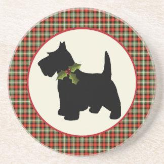 Scottie-Hundeschottisches kariertes Weihnachten Sandstein Untersetzer