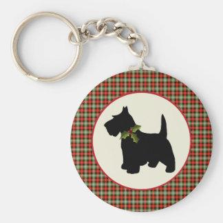 Scottie-Hundeschottisches kariertes Weihnachten Standard Runder Schlüsselanhänger