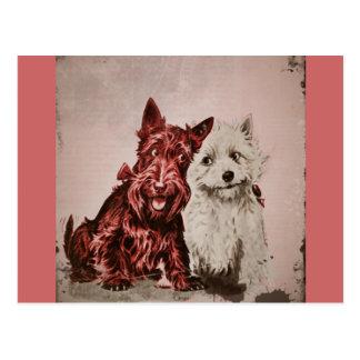 Scotties in der Liebe Postkarte