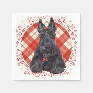 Scottish Terrier auf Tartan Papierserviette