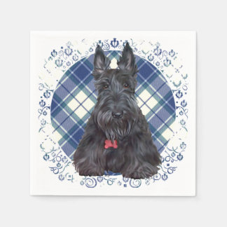 Scottish Terrier auf Tartan Papierservietten