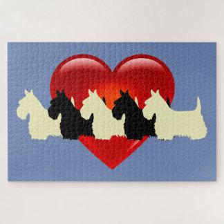 Scottish-Terrier schwarzes sihouette heart/1014 Puzzle