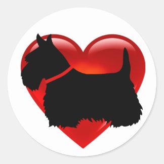 Scottish Terrier schwarzes/weißes rotes Runder Aufkleber