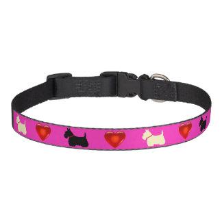 Scottish Terrier, Scottie, Rosa, rotes Herz Haustierhalsband