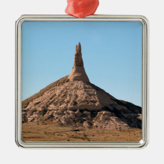 Scottsbluff Nebraska Kamin-Felsen-Helm Quadratisches Silberfarbenes Ornament