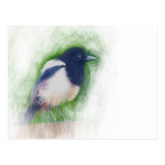 Scratchy Malerei einer schäbigen Elsters Postkarte