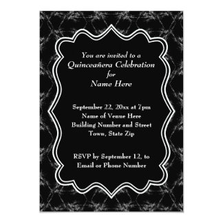 Scratchy Muster-Druck Schwarz-weißes Quinceanera 12,7 X 17,8 Cm Einladungskarte