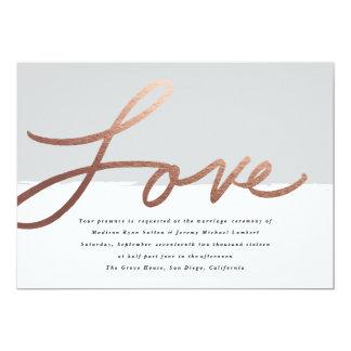 Scripted Imitat-Folieneinladung der Liebe wedding Karte