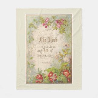 Scripture-Blumen-Grün-Vintage Antike Fleecedecke