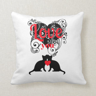 Scrollwork Herzen mit Kätzchen-… Liebe, die Sie Kissen