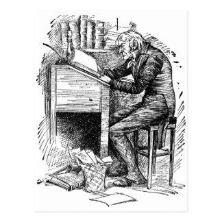 Scrooge an seinem Schreibtisch Postkarte