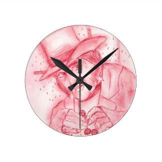 Scrooge im Rot Runde Wanduhr